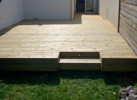 Terrasse de 40m² en Pin classe IV