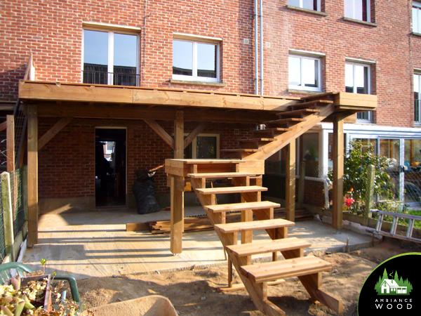 ambiance wood charpentier 59 nord terrasse suspendue pin escalier